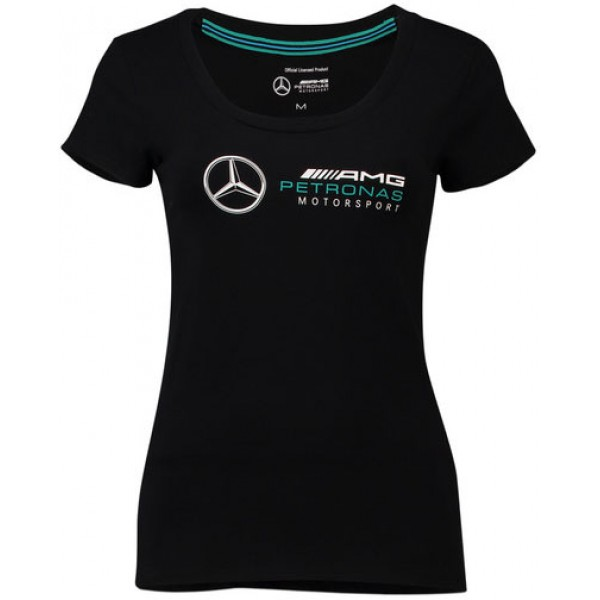 Mercedes AMG Petronas Logo T-Shirt - Black - Womens